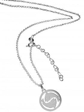 Fische (small ø 15 mm) -  Ankerkette mit Verlängerungskette, Länge 38+5 cm, 925 Silber rhodiniert