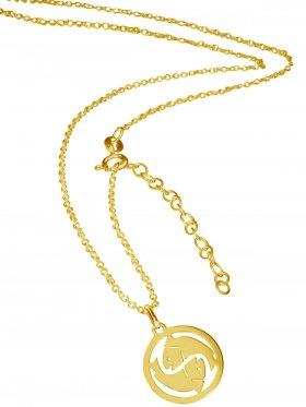 Fische (small ø 15 mm) -  Ankerkette mit Verlängerungskette, Länge 38+5 cm, 925 Silber vergoldet
