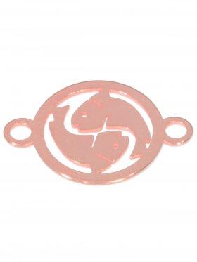 Fische, Element mini (10 mm) mit 2 Ösen, 925 Silber rosévergoldet