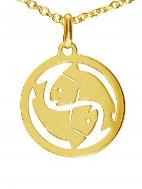 Fische, Sternzeichen Anhänger small mit Öse, 925 Silber vergoldet