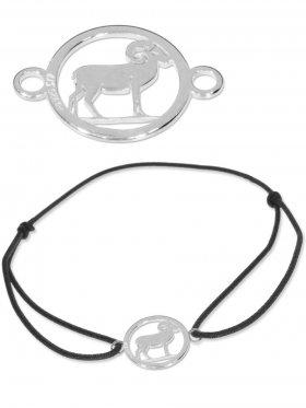 Symbolarmband Widder mini (10 mm) auf Elastikband, schwarz, 925 Silber