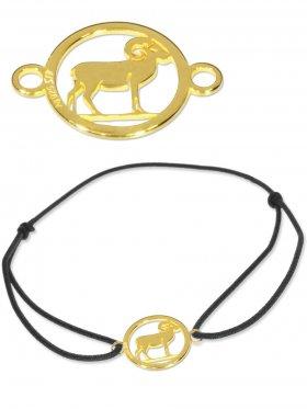 Symbolarmband Widder mini (10 mm) auf Elastikband, schwarz, 925 Silber vergoldet