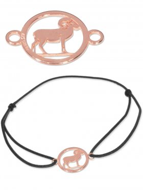 Symbolarmband Widder mini (10 mm) auf Elastikband, schwarz, 925 Silber rosévergoldet