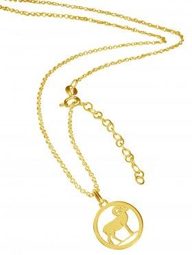 Widder (small ø 15 mm) -  Ankerkette mit Verlängerungskette, Länge 38+5 cm, 925 Silber vergoldet