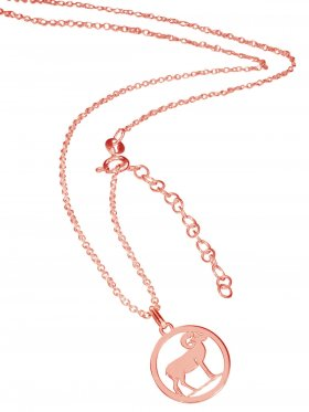 Widder (small ø 15 mm) -  Ankerkette mit Verlängerungskette, Länge 38+5 cm, 925 Silber rosévergoldet