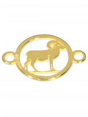 Widder, Element mini (10 mm) mit 2 Ösen, 925 Silber vergoldet