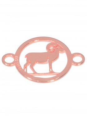 Widder, Element mini (10 mm) mit 2 Ösen, 925 Silber rosévergoldet