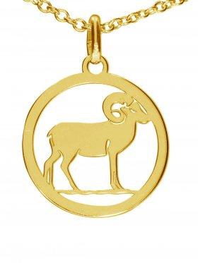 Widder, Sternzeichen Anhänger small mit Öse, 925 Silber vergoldet