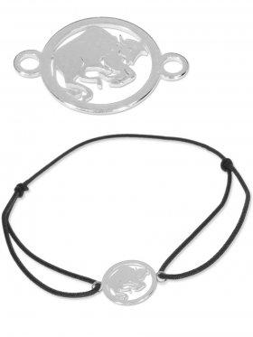 Symbolarmband Stier mini (10 mm) auf Elastikband, schwarz, 925 Silber