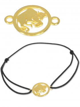 Symbolarmband Stier mini (10 mm) auf Elastikband, schwarz, 925 Silber vergoldet