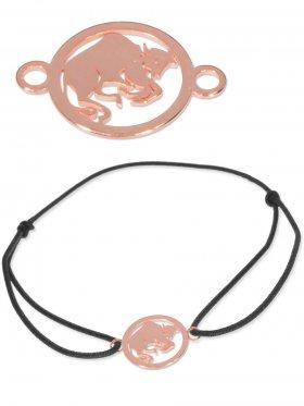 Symbolarmband Stier mini (10 mm) auf Elastikband, schwarz, 925 Silber rosévergoldet