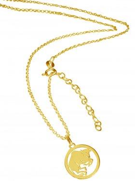 Stier (small ø 15 mm) -  Ankerkette mit Verlängerungskette, Länge 38+5 cm, 925 Silber vergoldet