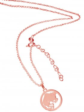Stier (small ø 15 mm) -  Ankerkette mit Verlängerungskette, Länge 38+5 cm, 925 Silber rosévergoldet