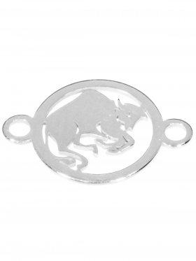 Stier, Element mini (10 mm) mit 2 Ösen, 925 Silber