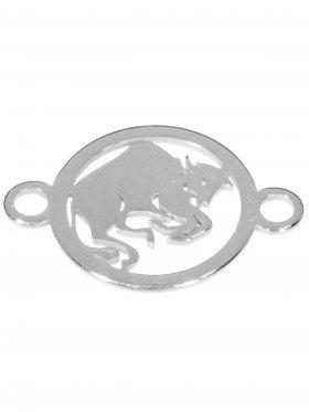 Stier, Element mini (10 mm) mit 2 Ösen, 925 Silber rhodiniert