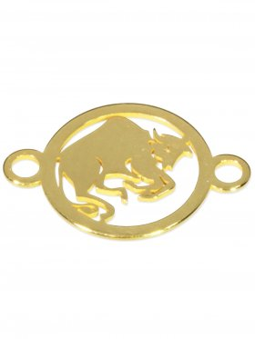 Stier, Element mini (10 mm) mit 2 Ösen, 925 Silber vergoldet