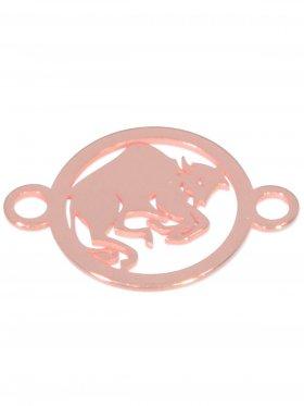 Stier, Element mini (10 mm) mit 2 Ösen, 925 Silber rosévergoldet