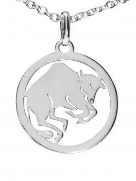 Stier, Sternzeichen Anhänger small mit Öse, 925 Silber