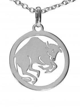 Stier, Sternzeichen Anhänger small mit Öse, 925 Silber rhodiniert