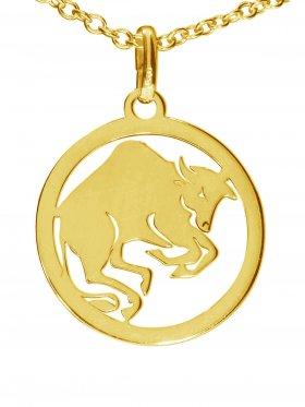 Stier, Sternzeichen Anhänger small mit Öse, 925 Silber vergoldet