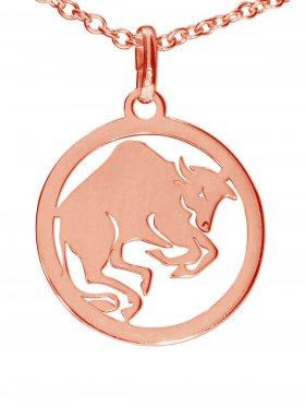 Stier, Sternzeichen Anhänger small mit Öse, 925 Silber rosévergoldet
