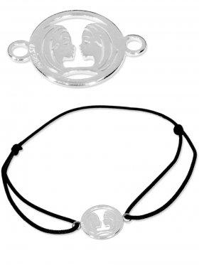 Symbolarmband Zwilling mini (10 mm) auf Elastikband, schwarz, 925 Silber