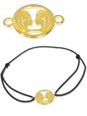 Symbolarmband Zwilling mini (10 mm) auf Elastikband, schwarz, 925 Silber vergoldet