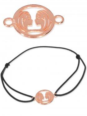 Symbolarmband Zwilling mini (10 mm) auf Elastikband, schwarz, 925 Silber rosévergoldet