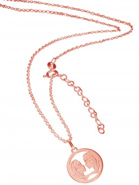 Zwilling (small ø 15 mm) -  Ankerkette mit Verlängerungskette, Länge 38+5 cm, 925 Silber rosévergoldet