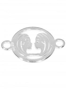 Zwilling, Element mini (10 mm) mit 2 Ösen, 925 Silber