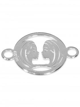 Zwilling, Element mini (10 mm) mit 2 Ösen, 925 Silber rhodiniert
