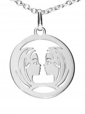 Zwillinge, Sternzeichen Anhänger small mit Öse, 925 Silber