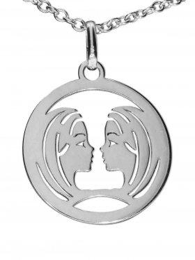 Zwillinge, Sternzeichen Anhänger small mit Öse, 925 Silber rhodiniert