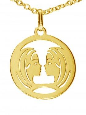 Zwillinge, Sternzeichen Anhänger small mit Öse, 925 Silber vergoldet