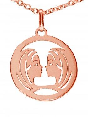 Zwillinge, Sternzeichen Anhänger small mit Öse, 925 Silber rosévergoldet