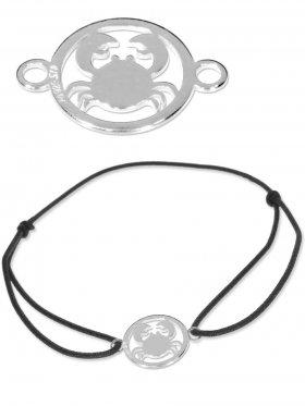 Symbolarmband Krebs mini (10 mm) auf Elastikband, schwarz, 925 Silber