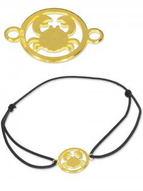 Symbolarmband Krebs mini (10 mm) auf Elastikband, schwarz, 925 Silber vergoldet