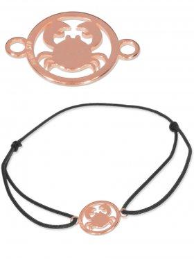 Symbolarmband Krebs mini (10 mm) auf Elastikband, schwarz, 925 Silber rosévergoldet