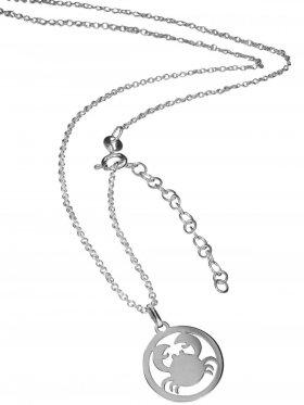 Krebs (small ø 15 mm) -  Ankerkette mit Verlängerungskette, Länge 38+5 cm, 925 Silber rhodiniert