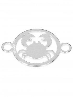 Krebs, Element mini (10 mm) mit 2 Ösen, 925 Silber