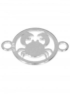 Krebs, Element mini (10 mm) mit 2 Ösen, 925 Silber rhodiniert