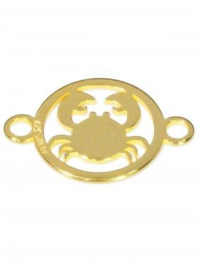 Krebs, Element mini (10 mm) mit 2 Ösen, 925 Silber vergoldet
