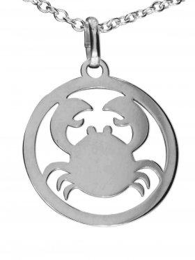 Krebs, Sternzeichen Anhänger small mit Öse, 925 Silber rhodiniert
