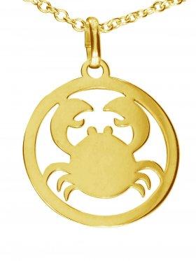 Krebs, Sternzeichen Anhänger small mit Öse, 925 Silber vergoldet
