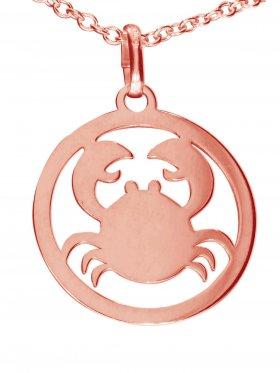 Krebs, Sternzeichen Anhänger small mit Öse, 925 Silber rosévergoldet