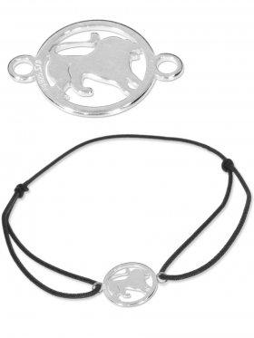Symbolarmband Löwe mini (10 mm) auf Elastikband, schwarz, 925 Silber