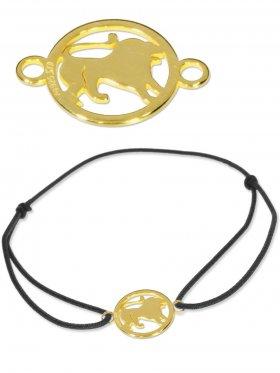 Symbolarmband Löwe mini (10 mm) auf Elastikband, schwarz, 925 Silber vergoldet