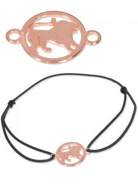 Symbolarmband Löwe mini (10 mm) auf Elastikband, schwarz, 925 Silber rosévergoldet