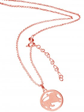 Löwe (small ø 15 mm) -  Ankerkette mit Verlängerungskette, Länge 38+5 cm, 925 Silber rosévergoldet