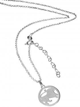 Löwe (small ø 15 mm) -  Ankerkette mit Verlängerungskette, Länge 38+5 cm, 925 Silber rhodiniert